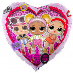Шар (18''/46 см) Сердце, Кукла ЛОЛ (LOL), Стильные подружки, Розовый, 1 шт.
